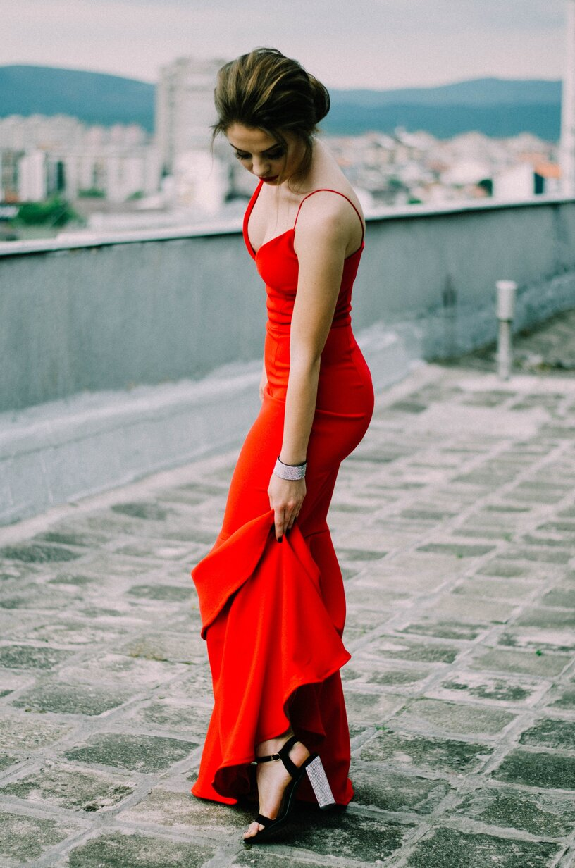 sugar baby in a red dress